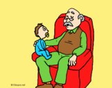 Coloring page Grandfather and grandchild painted bylorna