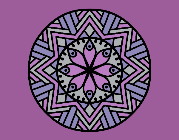 Coloring page Mandala bamboo flower painted byrobo
