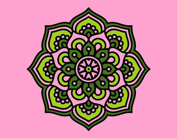 Coloring page Mandala concentration flower painted byrobo