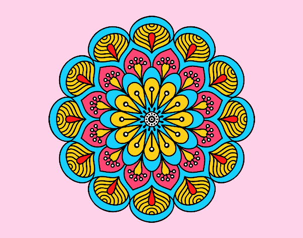 Coloring page Mandala flower and sheets painted byrobo