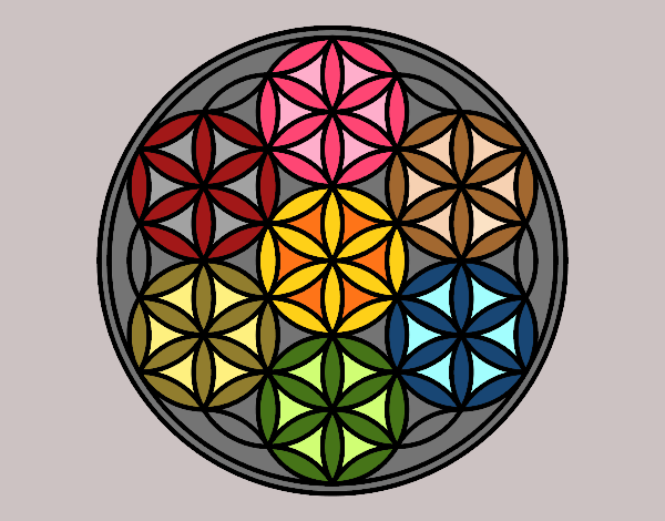 Coloring page Mandala lifebloom painted byrobo