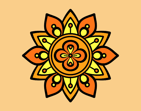 Coloring page Mandala lotus flower painted byrobo