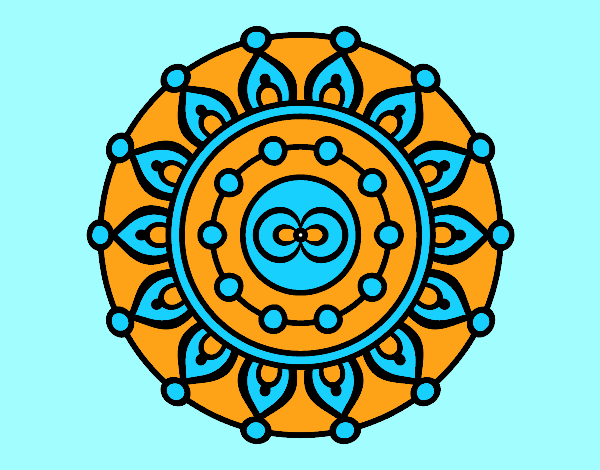 Coloring page Mandala meditation painted byrobo