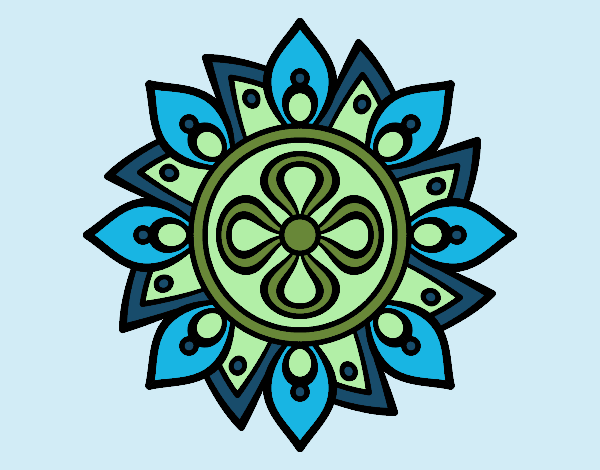 Coloring page Mandala simple flower painted byrobo
