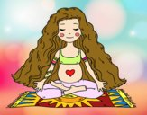 Coloring page Pregnant practicing yoga painted bybbbb