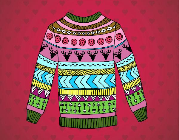 Printed wool sweater