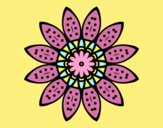 Coloring page Flower mandala with petals painted bylorna
