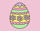Coloring page Flowery easter egg painted bylorna