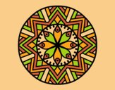 Coloring page Mandala bamboo flower painted bylorna