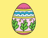 Coloring page Mandala easter egg painted bylorna