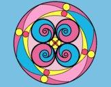 Coloring page Mandala 5 painted bylorna