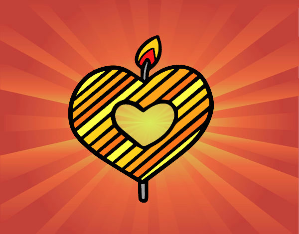 Coloring page Heart-shaped candle painted bySant