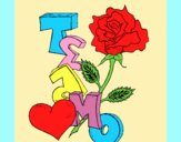 Coloring page I love you II painted bylorna