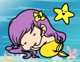 Coloring page Little mermaid chibi sleeping painted bybbbb