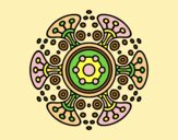 Coloring page Mandala distant world painted bylorna
