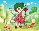Coloring page Fairy princess of hearts painted bybbbb