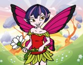 Coloring page Fairy with daisy  painted bybbbb
