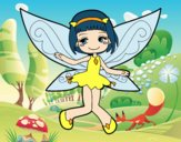 Coloring page Flying fairy painted bybbbb
