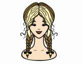 Coloring page hairstyle: two braids  painted byNerak