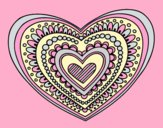 Coloring page Heart mandala painted bylorna
