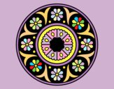 Coloring page Mandala flower painted bylorna