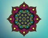 Coloring page Mandala flower of fire painted byTegan