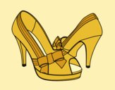 Coloring page Shoes with bow painted bylorna