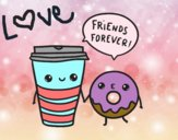 Coloring page Coffee and donut painted byjaidenpark