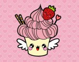 Coloring page Cupcake kawaii with strawberry painted bybbbb