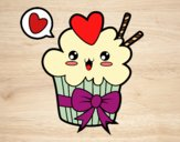 Coloring page Cupcake kawaii with tie painted bybbbb
