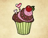 Coloring page Delicious Cupcake  painted bybbbb