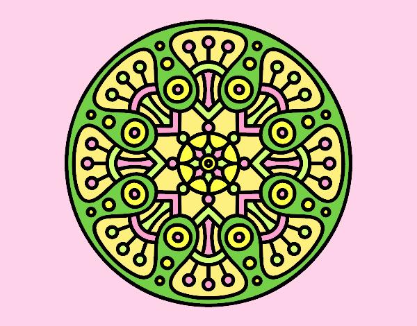 Coloring page Mandala crop circle painted bylorna