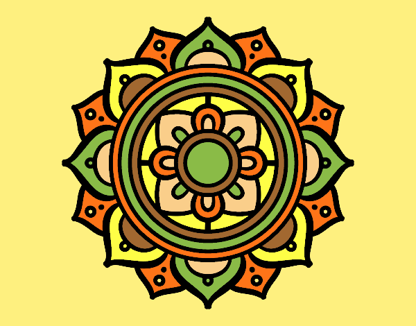 Coloring page Mandala greek mosaic painted bylorna