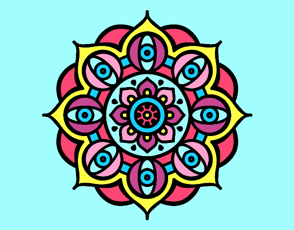 Coloring page Mandala open eyes painted bylorna
