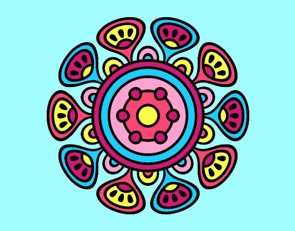 Coloring page Mandala vegetal growth painted bylorna