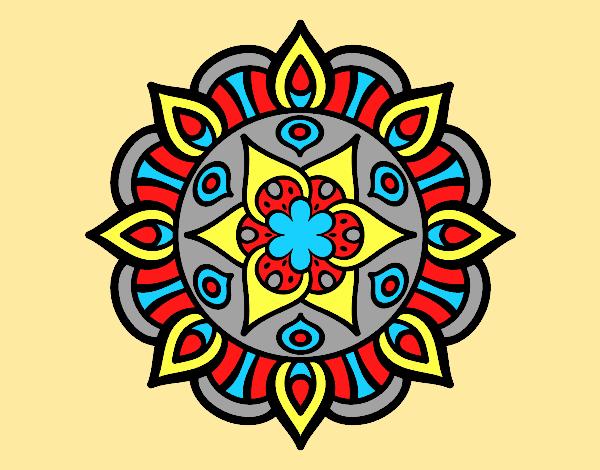 Coloring page Mandala vegetal life painted bylorna
