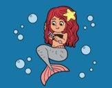 Mermaid combing her hair