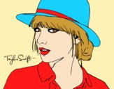Coloring page Taylor Swift with hat painted bylorna
