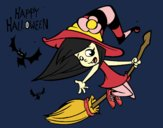 Coloring page A Halloween witch painted byfawnamama1