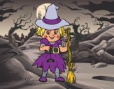 Coloring page A little witch painted byfawnamama1