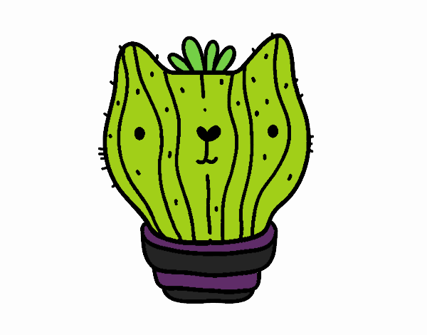 Coloring page Cat cactus painted byBella0