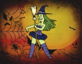 Coloring page Little witch sexy painted byfawnamama1