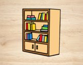 Coloring page Bookcase with drawers painted bylorna
