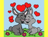 Coloring page Bunnies in love painted bylorna
