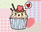 Coloring page Cupcake kawaii painted bybbbb
