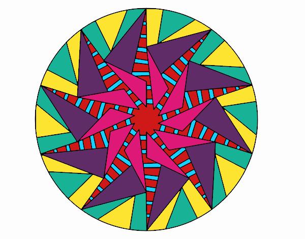 Coloring page Mandala triangular sun painted byBella0