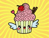 Coloring page The Cupcake kawaii painted bybbbb