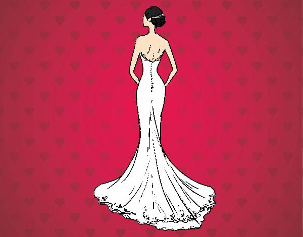 Wedding dress with tail