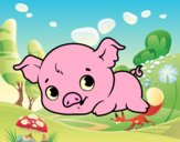 Coloring page Baby piggy painted bylorna