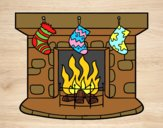 Coloring page Christmas chimney painted bylorna
